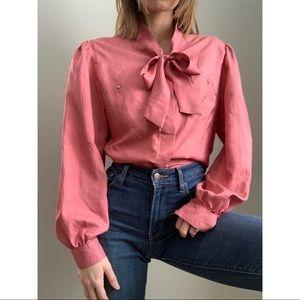 Vintage mauve front tie blouse